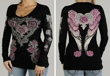 USA Ladies Bling Black with Pink Rose and Heart V-Neck Long Sleeve Shirt fnt