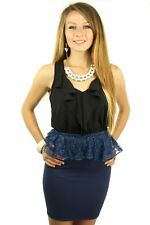 121AVENUE Classy Flutter Decor Skirt L 1X Large Women Blue Pencil USA