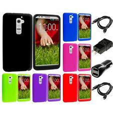 For LG G2 Sprint T-Mobile At&t Soft Silicone Skin Rubber Cover Case 2X Chargers