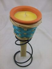 Bamboo & metal stand, Garden Candle Torch, 22cm tall,  NEW, GG565