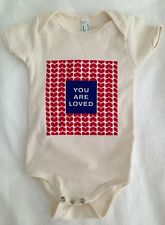 American Apparel Baby Onesie You Are Loved Birdaria One-Piece Red Hearts Blue