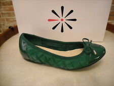 Isaac Mizrahi Delite Green Quilted Leather Ballet Flats NEW