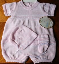 Will'beth Preemie Newborn Baby Girl Pink Knit Outfit Bonnet Socks NWT Reborn