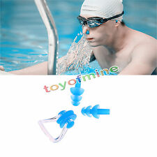 Waterproof Soft Silicone Swimming Set Nose Clip + Ear Plug Earplug COLORFUL NEW