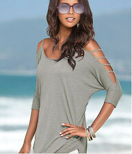 Women Summer Top Off Shoulder Blouse Casual Top T-Shirt Blouse Grey/Red/Blue New