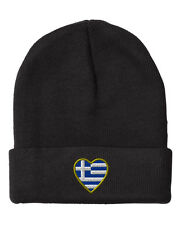 Heart Greece Flag  Embroidery Embroidered Beanie Skully Hat Cap