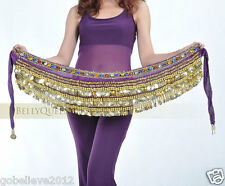 Brand New Belly Dance Hip Scarf Belt With Gold Coins Handmade 4 Colors Available