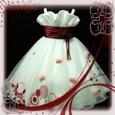 Reds White Graduation Wedding Party Flower Girls Dresses SIZE 2-3-4-5-6-7-8-10Y