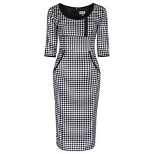 NEW VINTAGE 50'S STYLE CHIC FREYA BLACK CHECK PENCIL WIGGLE PARTY DRESS