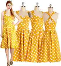 Vintage Rockabilly 50S 60S Pinup Party Swing Dress Yellow Polka Dot S-2X RD 3277
