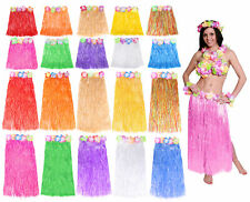 HAWAIIAN 6 PIECE SET TROPICAL LEI WITH HULA SKIRT AND FLOWER BRA LUAU PARTY HEN