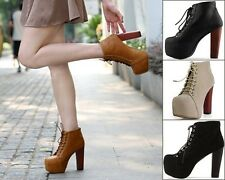 Sexy Women Lady Platform Pumps Thick High Heels Strap Lace-Up Ankle Boots Shoes
