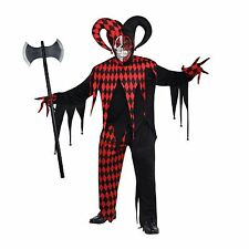 Evil Jester Scary Clown Halloween Adult Mens M L XL Fancy Dress Costume With Axe