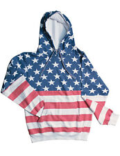 NEW NWT American Stars Stripes Flag Hoodie - Faded Design Vintage Look