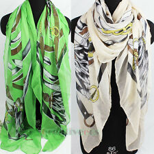 Fashion Women's Belt Tassel Print Soft Scarf Viscose Shawl Beach Cover-up Wrap