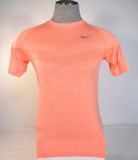 Nike Running Dri Fit Heather Orange Knit Short Sleeve Shirt Mens NWT