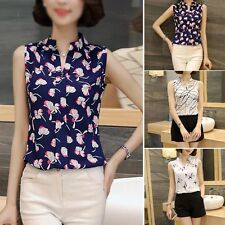 Women Summer Casual Sleeveless Chiffon Tee Vest T Shirt Blouse Loose Tops CI