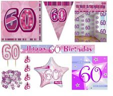 60th Birthday/Age 60 - PINK/GIRL PARTY ITEMS Decorations Tableware - Large Range