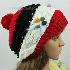 Fashion Women's Winter Ski Cap Knit Wool Warm Hat Dot Pom-Pom Casual Beanies New
