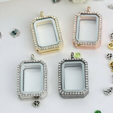 DIY Floating Memory Charm Crystal Square Glass Locket Chain Necklace Pendant