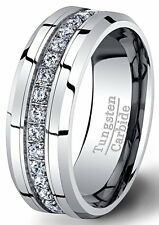 Mens Wedding Band White 8mm Tungsten Ring Polished Fully Stacked CZ Beveled Edge