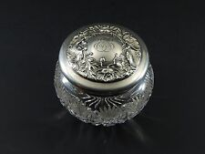 Antique GORHAM Sterling Silver Repousse Cut (?) Glass Powder Dresser Vanity Jar