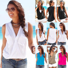 Womens Sexy Sleeveless V Neck Vest Ladies Summer Casual T-Shirt Beach Top Blouse