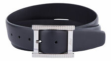 BRIONI Mens Genuine Leather Belt Black Italy Signature Buckle NEW Fashion Belt
