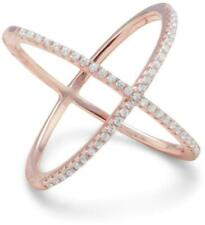 18 Karat Rose Gold Plated Criss Cross 'X' Ring with Signity CZs 925 Sterling Sil