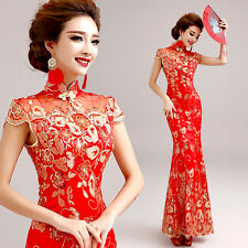 Chinese Red Lace Embroidery Mermaid Cheongsam Prom Party Wedding Ball Gown Dress