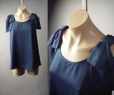 Navy Blue French Gamine Nautical Sailor Ribbon Bow Party Top 32xt Blouse S M L