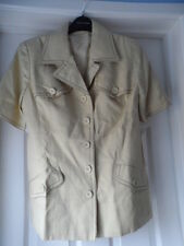 bnwt new mansfield stunning ladies short sleeved biscuit linen jacket size 14