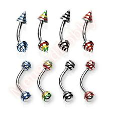 16G Stripe Spike Ball Curve Eyebrow Bar Ring Barbell Body Piercing Jewellery