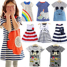 Casual Baby Girls Mickey Princess Striped Tunic T-Shirt Dress Holiday Long Tops