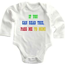 If You Can Read This, Pass Me To Mimi Long Sleeve Baby Bodysuit One Piece