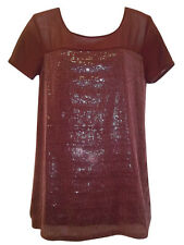 Red Top Tunic Size 8 12 Wine Sequin Party Evening Blouse Ex NEXT Burgundy