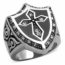 Men's Silver & Black Stainless Steel Celtic Holy Cross Ring Size 8-13