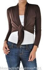 Brown Drape/Tie Front Long Sleeve Cropped Bolero Cover-Up CardiganS M L XL