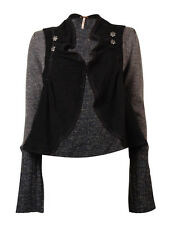 Free People Women's Long Sleeve Clasp Cardigan Sweater (M, Black Combo)