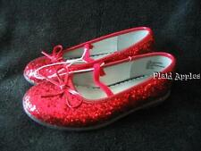 Red Glitter Shoes Girls Mary Janes Dorothy Ballet Flats 9 10 11 12 New