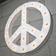 Peace Sign Symbol Hippie Rustic Metal Vintage Marquee Sign Light - 20 COLORS!