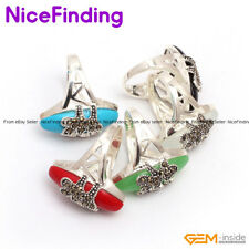 Fashion Women Jewelry Rings Oval Beads Tibetan Silver Plated Marcasite Presents