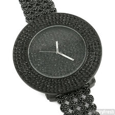 Black Finish Iced Out Luxury Watch Custom Cluster Band