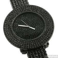 Blacked Out Fully Iced Out 4 Row Bezel Hip Hop Watch