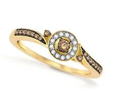 Lovely! 100% 10K Yellow Gold Chocolate Brown & White Diamond Cluster Ring .20ct