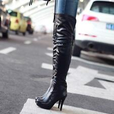 Womens Leather Winter Warm Rounde Toe Stiletto Shoes Ladies Knee High Boots Size