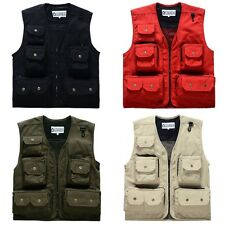 Men's Sleeveless Multi Pocket Zipper Coat Tactical Combat Vest Fishing Vest