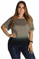 DEALZONE Two Tone Bottom Fringe Top 1X Women Plus Size Green Casual