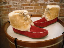 Lamo Red Suede Lace-up Moccasin Faux Fur Ankle Booties NEW