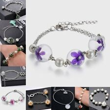 Charm Bracelet With Natural Gem Real Flower Dandelion Seeds Glass Ball Charming